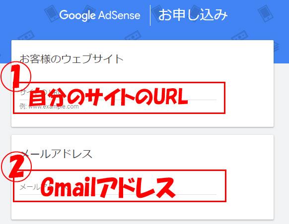 サイトURLとGmailアドレスの入力